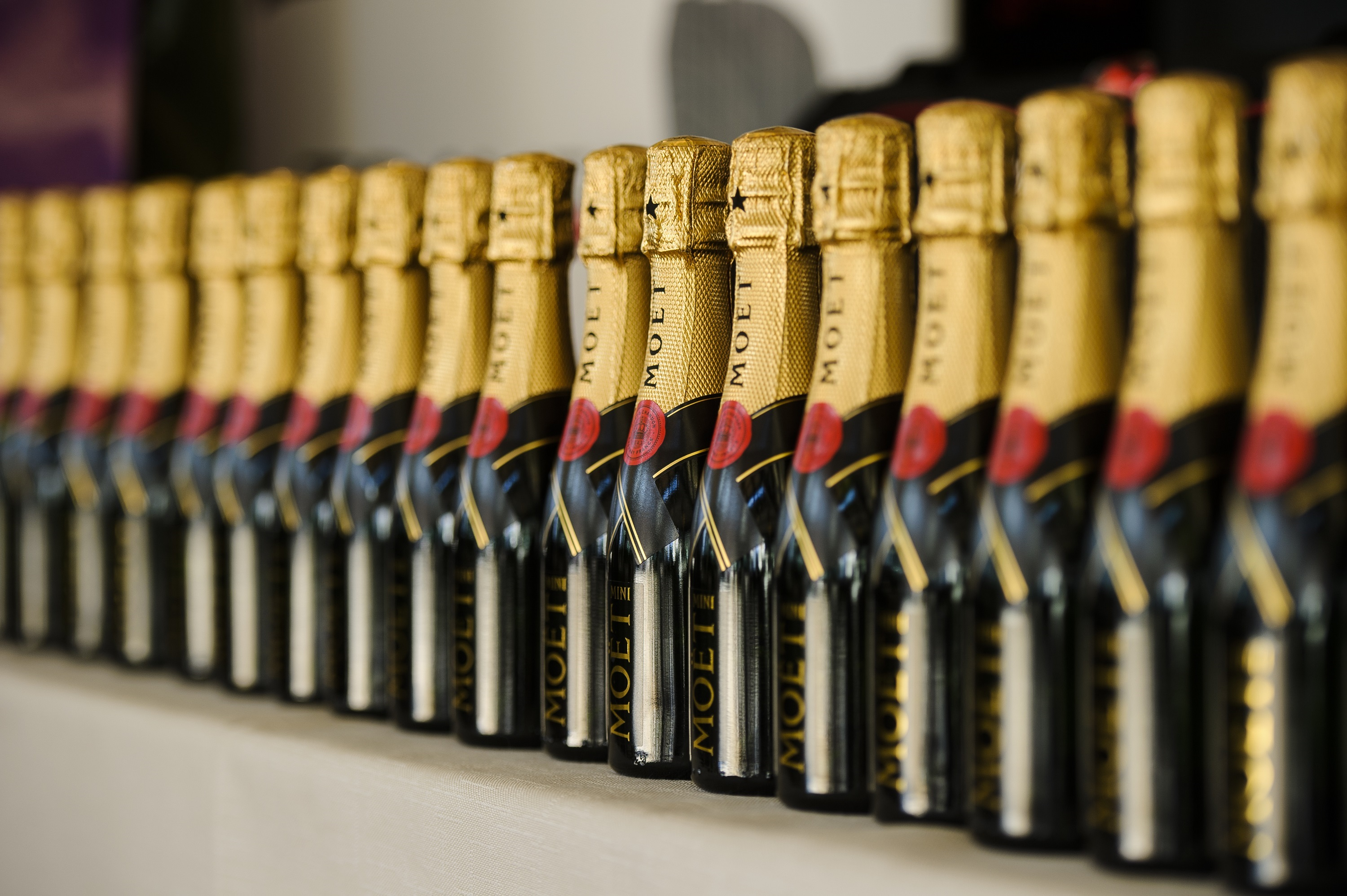 Row of Moet Chandon Champagne Bottles